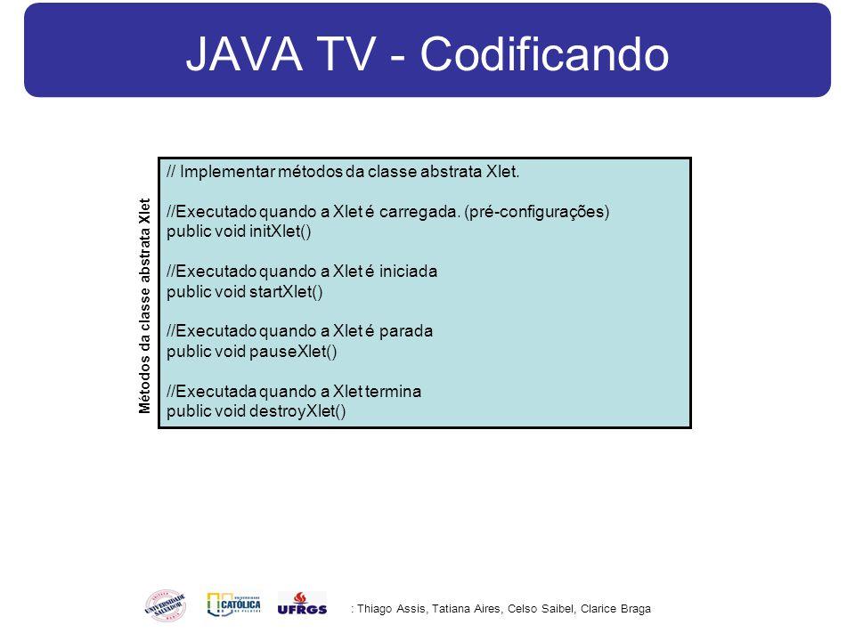 JAVA TV - Codificando : Thiago Assis, Tatiana Aires, Celso Saibel, Clarice Braga // Implementar métodos da classe abstrata Xlet.