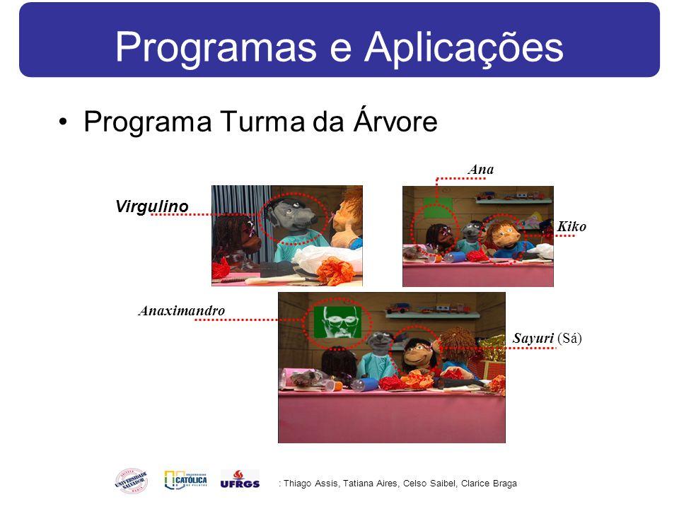 Programas e Aplicações Programa Turma da Árvore : Thiago Assis, Tatiana Aires, Celso Saibel, Clarice Braga Anaximandro Virgulino Kiko Ana Sayuri (Sá)
