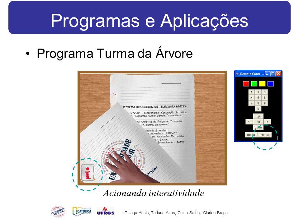 Programas e Aplicações Programa Turma da Árvore : Thiago Assis, Tatiana Aires, Celso Saibel, Clarice Braga Acionando interatividade