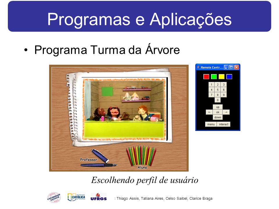 Programas e Aplicações Programa Turma da Árvore : Thiago Assis, Tatiana Aires, Celso Saibel, Clarice Braga Escolhendo perfil de usuário