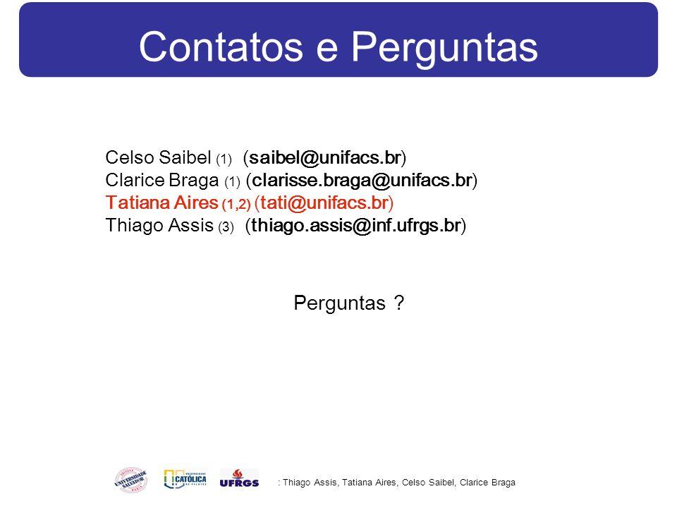 Contatos e Perguntas : Thiago Assis, Tatiana Aires, Celso Saibel, Clarice Braga Celso Saibel (1) (saibel@unifacs.br) Clarice Braga (1) (clarisse.braga@unifacs.br) Tatiana Aires (1,2) (tati@unifacs.br) Thiago Assis (3) (thiago.assis@inf.ufrgs.br) Perguntas ?