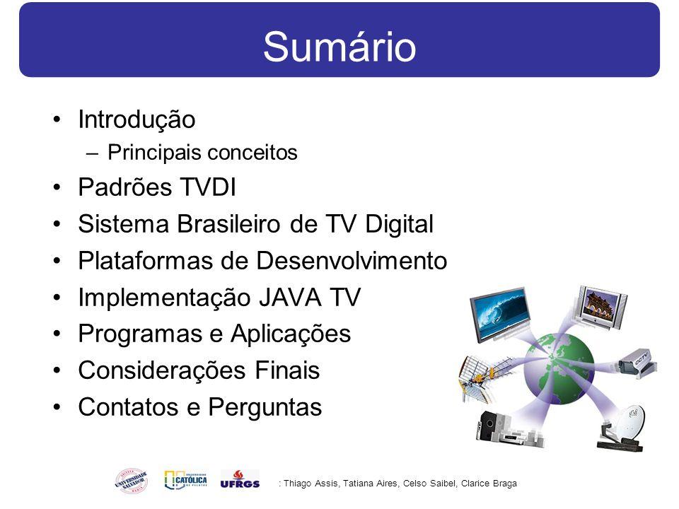 Sumário Introdução –Principais conceitos Padrões TVDI Sistema Brasileiro de TV Digital Plataformas de Desenvolvimento Implementação JAVA TV Programas