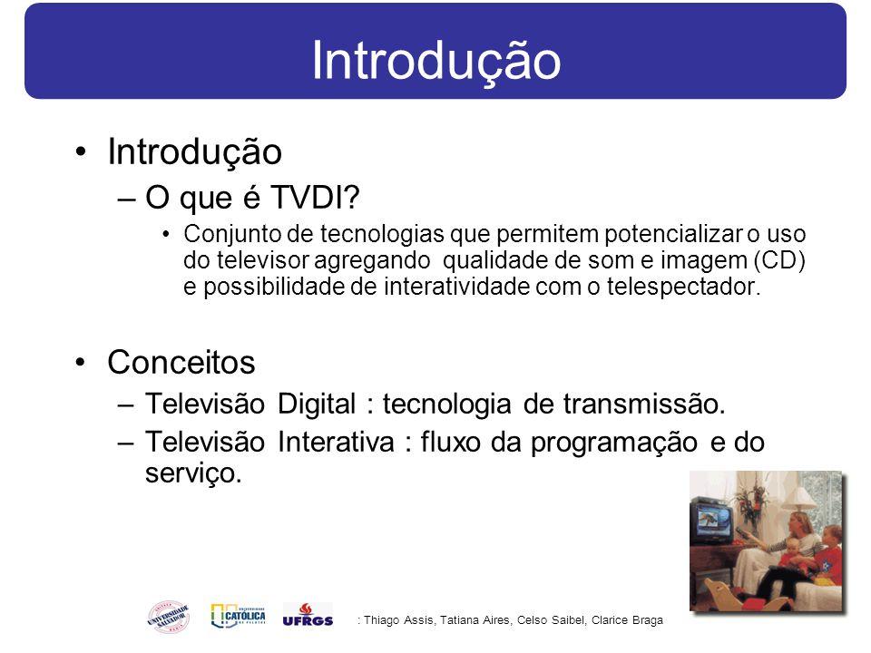 Introdução –O que é TVDI? Conjunto de tecnologias que permitem potencializar o uso do televisor agregando qualidade de som e imagem (CD) e possibilida