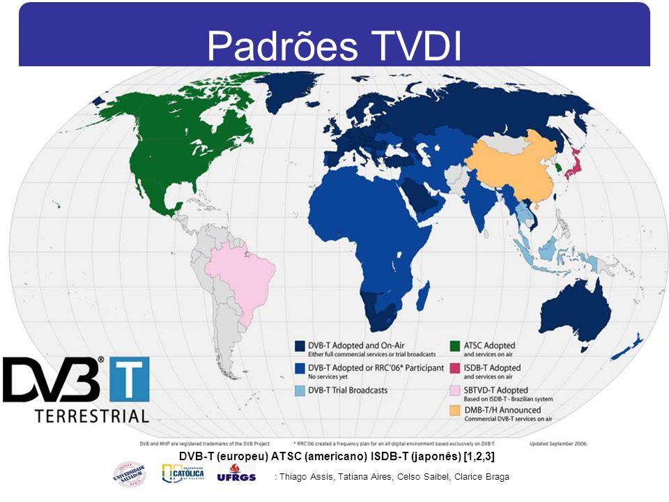 Padrões TVDI : Thiago Assis, Tatiana Aires, Celso Saibel, Clarice Braga DVB-T (europeu) ATSC (americano) ISDB-T (japonês) [1,2,3]