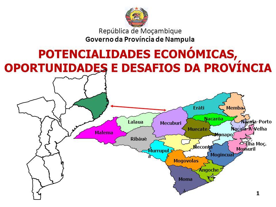 1 República de Moçambique Governo da Província de Nampula POTENCIALIDADES ECONÓMICAS, OPORTUNIDADES E DESAFIOS DA PROVÍNCIA Angoche Eráti Lalaua Malem