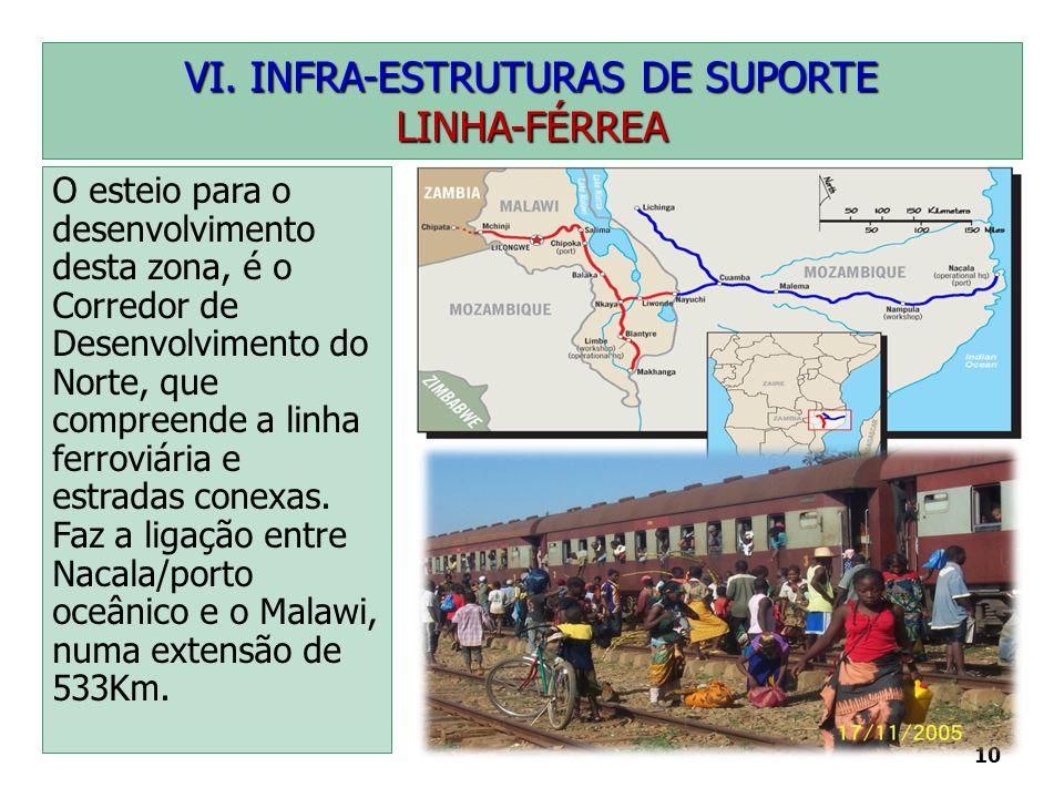 10 VI. INFRA-ESTRUTURAS DE SUPORTE LINHA-FÉRREA O esteio para o desenvolvimento desta zona, é o Corredor de Desenvolvimento do Norte, que compreende a