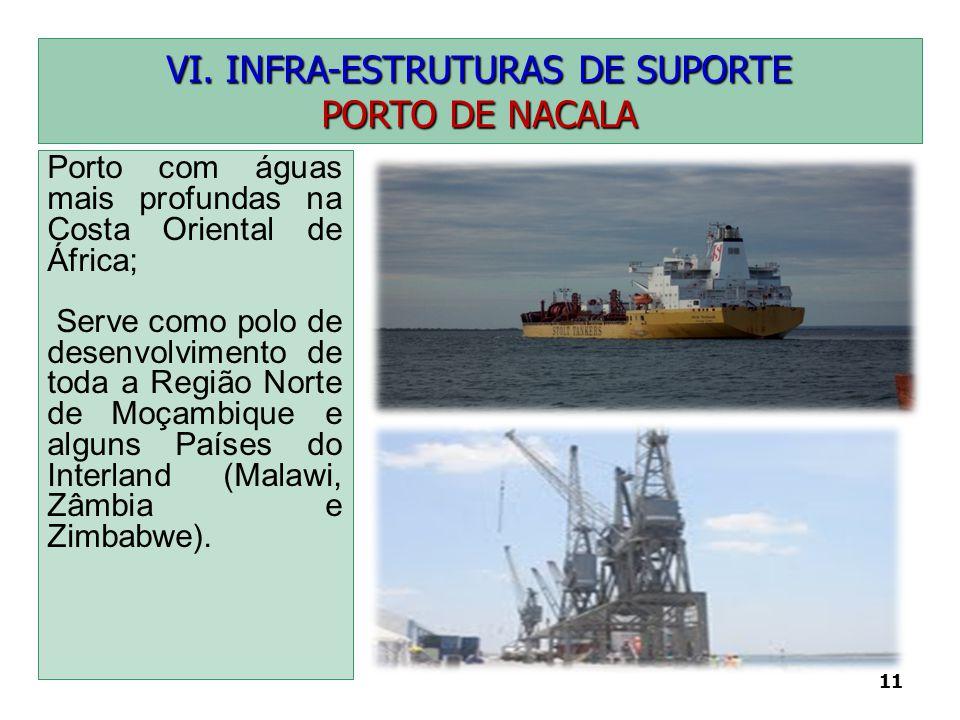 11 VI. INFRA-ESTRUTURAS DE SUPORTE PORTO DE NACALA Porto com águas mais profundas na Costa Oriental de África; Serve como polo de desenvolvimento de t
