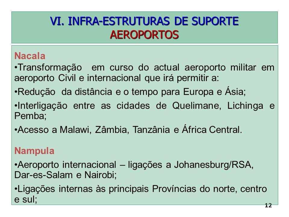 12 VI. INFRA-ESTRUTURAS DE SUPORTE AEROPORTOS Nacala Transformação em curso do actual aeroporto militar em aeroporto Civil e internacional que irá per