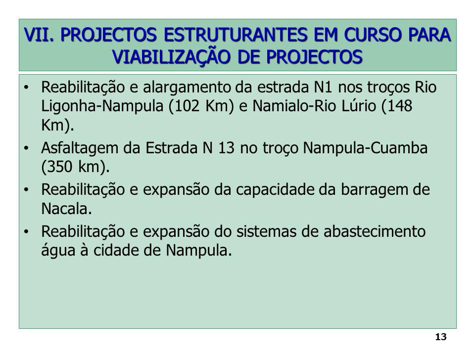 13 VII. PROJECTOS ESTRUTURANTES EM CURSO PARA VIABILIZAÇÃO DE PROJECTOS Reabilitação e alargamento da estrada N1 nos troços Rio Ligonha-Nampula (102 K