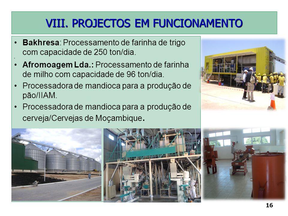 16 Bakhresa: Processamento de farinha de trigo com capacidade de 250 ton/dia. Afromoagem Lda.: Processamento de farinha de milho com capacidade de 96