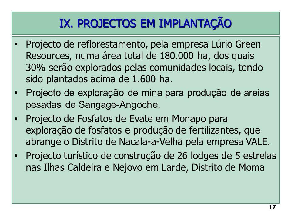 17 IX. PROJECTOS EM IMPLANTAÇÃO Projecto de reflorestamento, pela empresa Lúrio Green Resources, numa área total de 180.000 ha, dos quais 30% serão ex