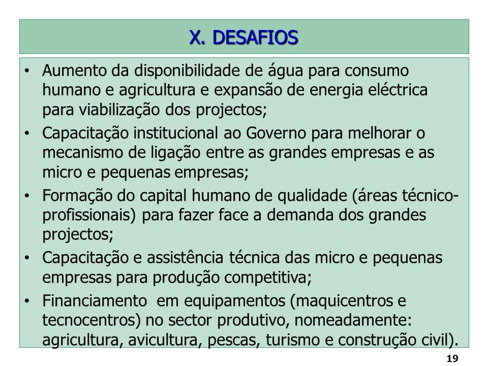 19 X. DESAFIOS Aumento da disponibilidade de água para consumo humano e agricultura e expansão de energia eléctrica para viabilização dos projectos; C