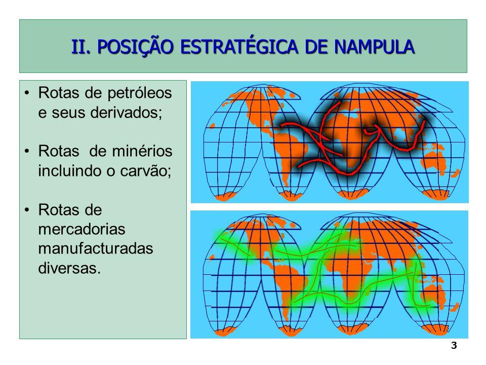 3 II. POSIÇÃO ESTRATÉGICA DE NAMPULA Rotas de petróleos e seus derivados; Rotas de minérios incluindo o carvão; Rotas de mercadorias manufacturadas di