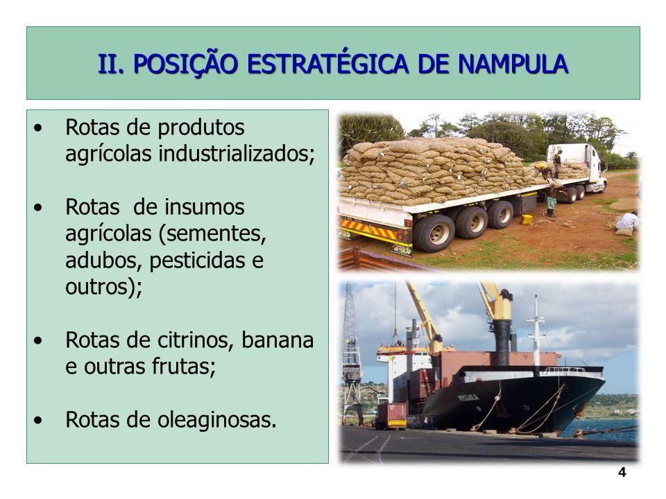 4 II. POSIÇÃO ESTRATÉGICA DE NAMPULA Rotas de produtos agrícolas industrializados; Rotas de insumos agrícolas (sementes, adubos, pesticidas e outros);