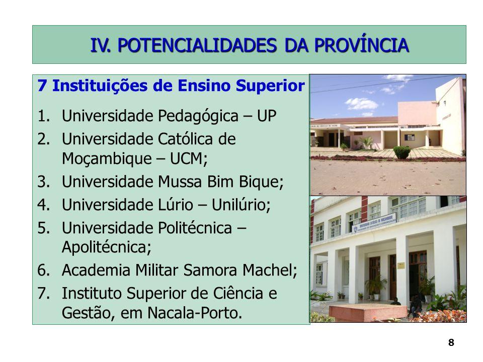 8 7 Instituições de Ensino Superior 1.Universidade Pedagógica – UP 2.Universidade Católica de Moçambique – UCM; 3.Universidade Mussa Bim Bique; 4.Univ