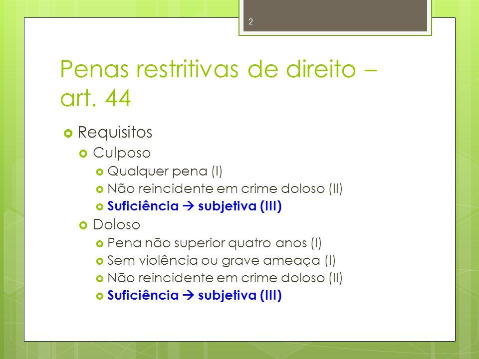 Penas restritivas de direito – art. 44  Requisitos  Culposo  Qualquer pena (I)  Não reincidente em crime doloso (II)  Suficiência  subjetiva (II