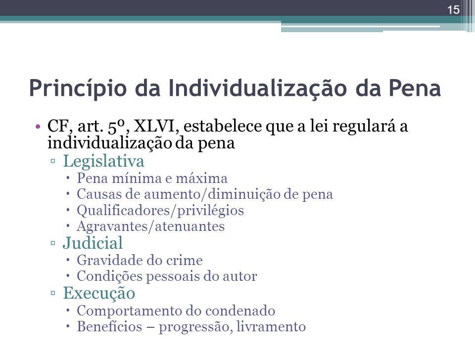 Princípio da Individualização da Pena CF, art. 5º, XLVI, estabelece que a lei regulará a individualização da pena ▫Legislativa  Pena mínima e máxima