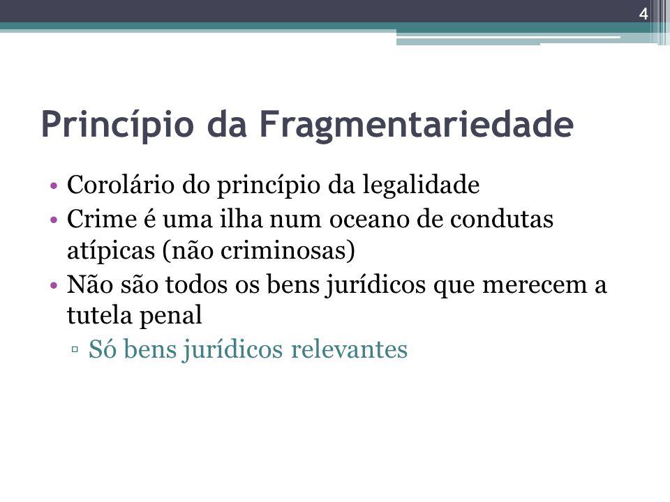 Princípio da Fragmentariedade Corolário do princípio da legalidade Crime é uma ilha num oceano de condutas atípicas (não criminosas) Não são todos os