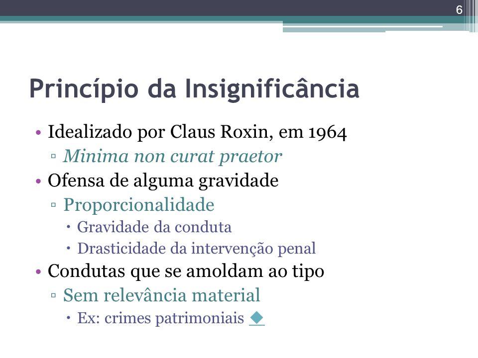 Princípio da Insignificância Idealizado por Claus Roxin, em 1964 ▫Minima non curat praetor Ofensa de alguma gravidade ▫Proporcionalidade  Gravidade d