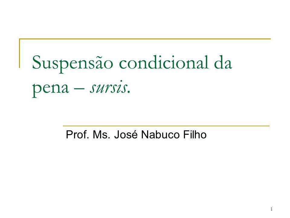 1 Suspensão condicional da pena – sursis. Prof. Ms. José Nabuco Filho