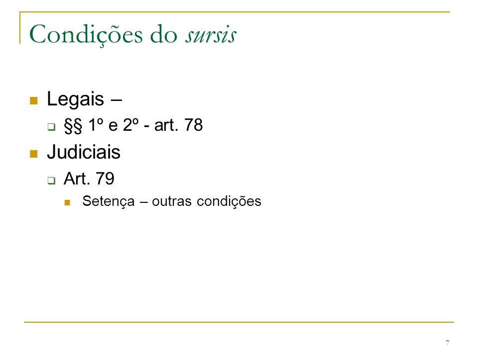 7 Condições do sursis Legais –  §§ 1º e 2º - art. 78 Judiciais  Art. 79 Setença – outras condições