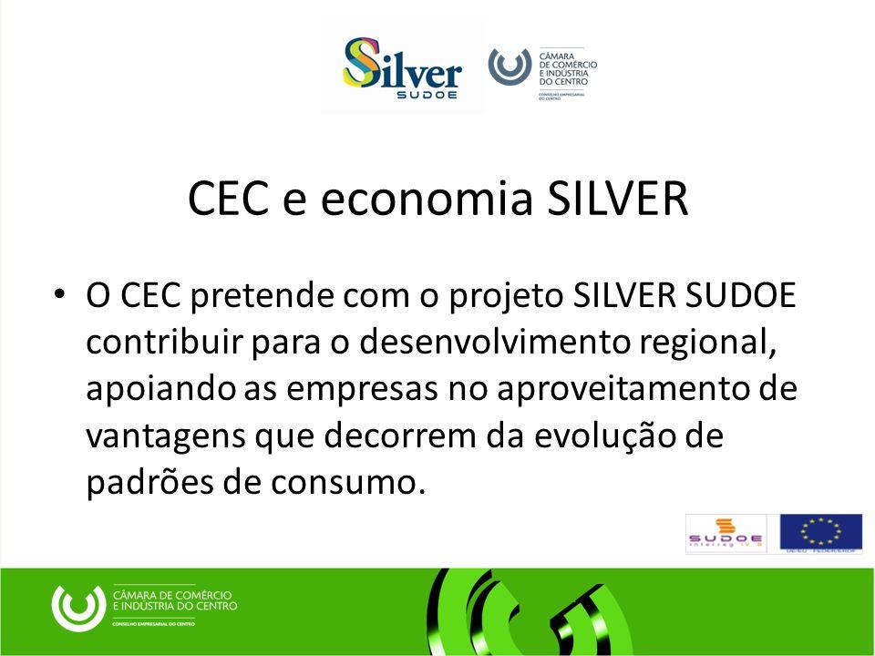 CEC e economia SILVER O CEC pretende com o projeto SILVER SUDOE contribuir para o desenvolvimento regional, apoiando as empresas no aproveitamento de vantagens que decorrem da evolução de padrões de consumo.