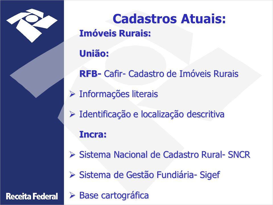 Imóveis Rurais: União: RFB- Cafir- Cadastro de Imóveis Rurais  Informações literais  Identificação e localização descritiva Incra:  Sistema Naciona
