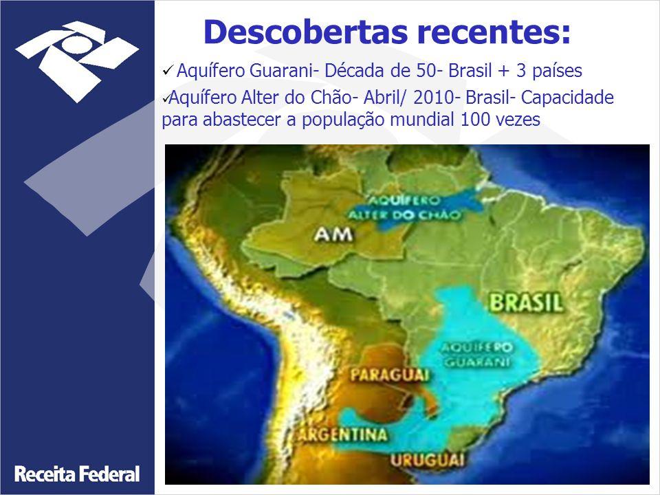 Aquífero Guarani- Década de 50- Brasil + 3 países Aquífero Alter do Chão- Abril/ 2010- Brasil- Capacidade para abastecer a população mundial 100 vezes Descobertas recentes: