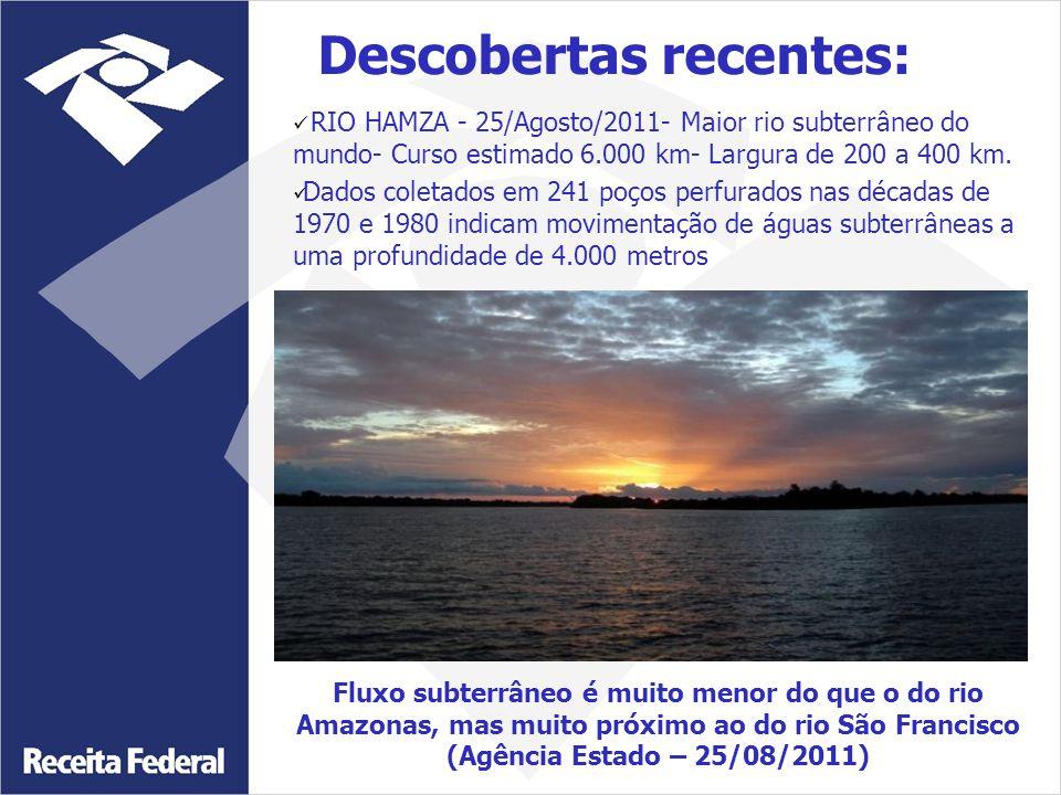 RIO HAMZA - 25/Agosto/2011- Maior rio subterrâneo do mundo- Curso estimado 6.000 km- Largura de 200 a 400 km. Dados coletados em 241 poços perfurados