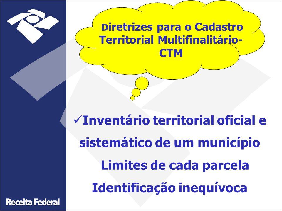 Inventário territorial oficial e sistemático de um município Limites de cada parcela Identificação inequívoca D iretrizes para o Cadastro Territorial Multifinalitário- CTM
