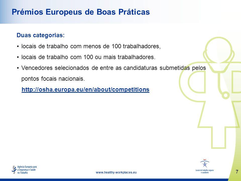 www.healthy-workplaces.eu Lançamento da Campanha 18 de abril de 2012 Semanas Europeias para a Segurança e Saúde no Trabalho outubro de 2012 e 2013 Cerimónia de Atribuição dos Prémios abril de 2013 de Boas Práticas Cimeira Locais de Trabalho Seguros e Saudáveis novembro de 2013 8 Datas importantes