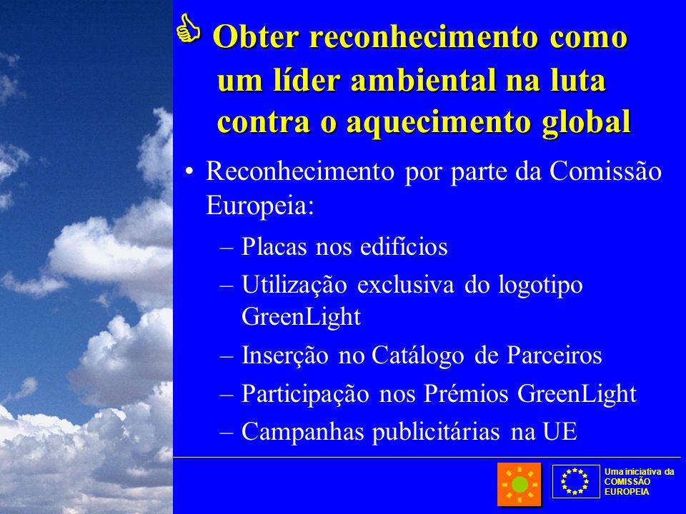 Uma iniciativa da COMISSÃO EUROPEIA  Obter reconhecimento como um líder ambiental na luta contra o aquecimento global Reconhecimento por parte da Comissão Europeia: –Placas nos edifícios –Utilização exclusiva do logotipo GreenLight –Inserção no Catálogo de Parceiros –Participação nos Prémios GreenLight –Campanhas publicitárias na UE