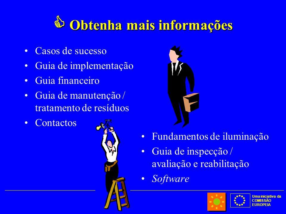 Uma iniciativa da COMISSÃO EUROPEIA  Obtenha mais informações Casos de sucesso Guia de implementação Guia financeiro Guia de manutenção / tratamento de resíduos Contactos Fundamentos de iluminação Guia de inspecção / avaliação e reabilitação Software