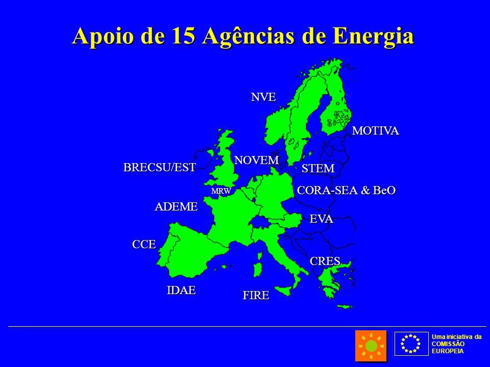 Uma iniciativa da COMISSÃO EUROPEIA Apoio de 15 Agências de Energia BRECSU/EST IDAE CCE ADEME CORA-SEA & BeO CRES EVA FIRE MOTIVA STEM NVE NOVEM MRW