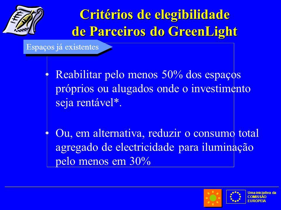 Uma iniciativa da COMISSÃO EUROPEIA Critérios de elegibilidade de Parceiros do GreenLight Reabilitar pelo menos 50% dos espaços próprios ou alugados onde o investimento seja rentável*.