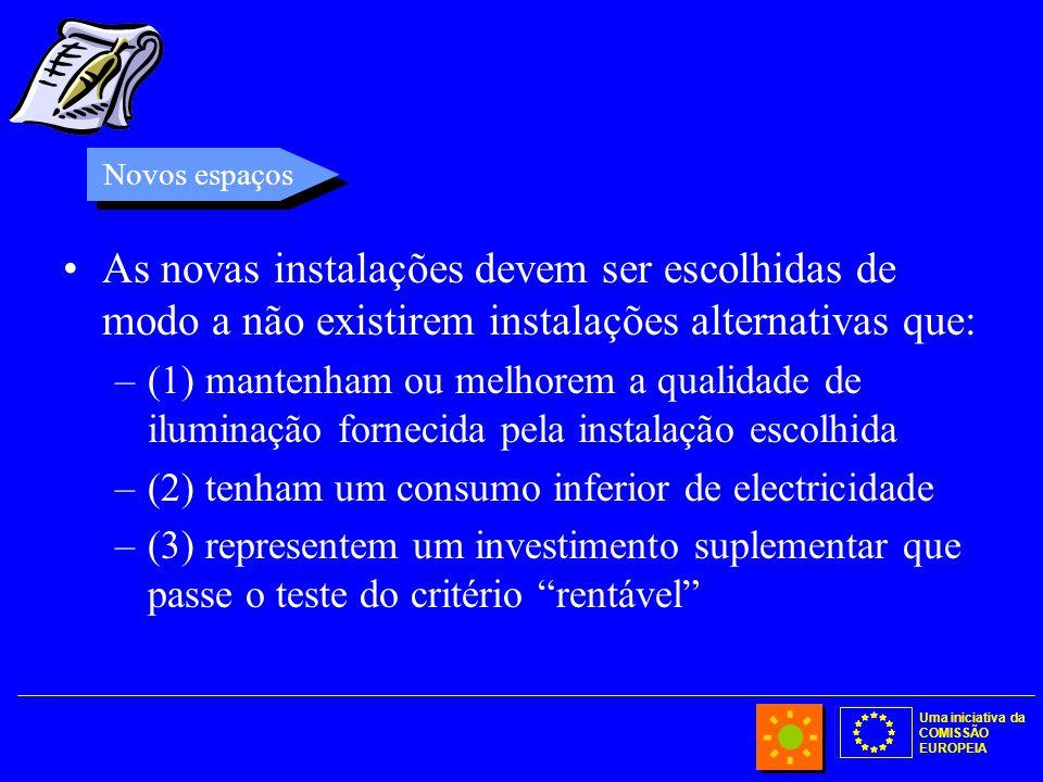 Uma iniciativa da COMISSÃO EUROPEIA As novas instalações devem ser escolhidas de modo a não existirem instalações alternativas que: –(1) mantenham ou melhorem a qualidade de iluminação fornecida pela instalação escolhida –(2) tenham um consumo inferior de electricidade –(3) representem um investimento suplementar que passe o teste do critério rentável Novos espaços
