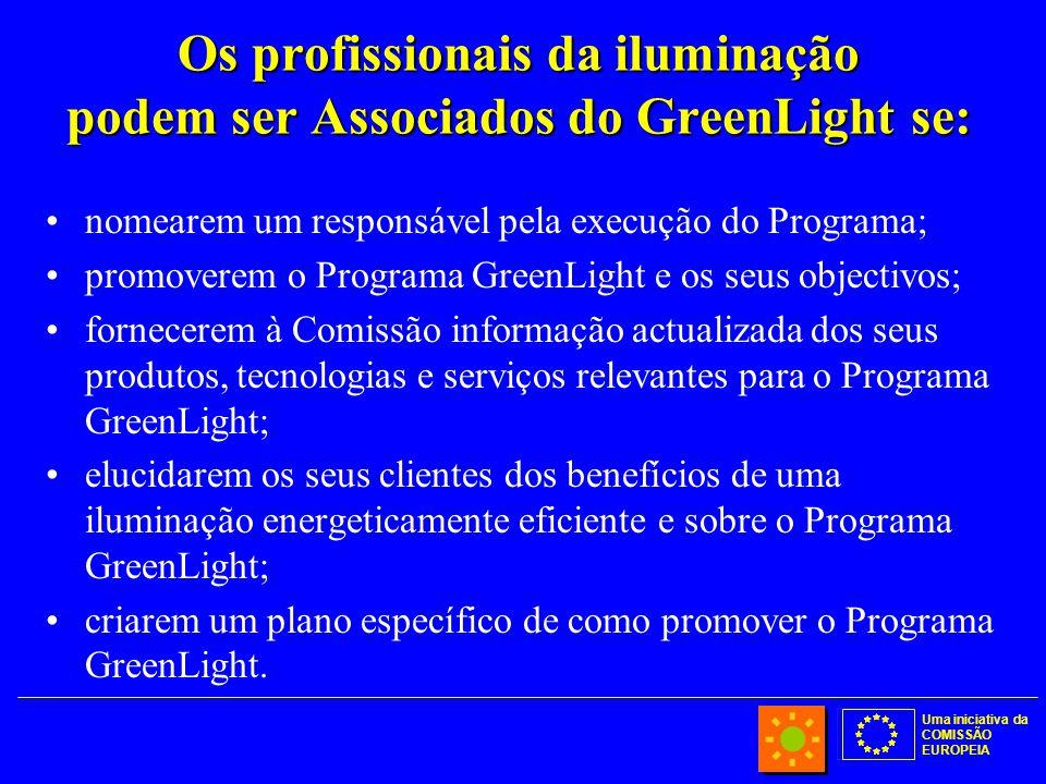 Uma iniciativa da COMISSÃO EUROPEIA Os profissionais da iluminação podem ser Associados do GreenLight se: nomearem um responsável pela execução do Programa; promoverem o Programa GreenLight e os seus objectivos; fornecerem à Comissão informação actualizada dos seus produtos, tecnologias e serviços relevantes para o Programa GreenLight; elucidarem os seus clientes dos benefícios de uma iluminação energeticamente eficiente e sobre o Programa GreenLight; criarem um plano específico de como promover o Programa GreenLight.