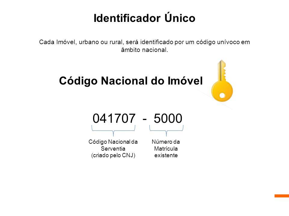 Código Nacional do Imóvel 041707 - 5000 Identificador Único Cada Imóvel, urbano ou rural, será identificado por um código unívoco em âmbito nacional.