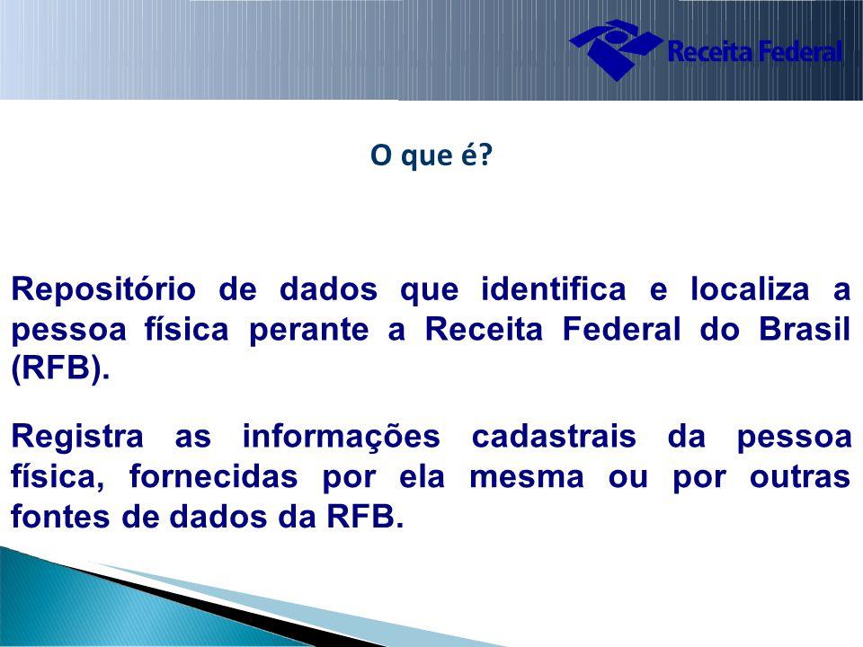 O que é. Repositório de dados queidentificae localiza a pessoa (RFB).