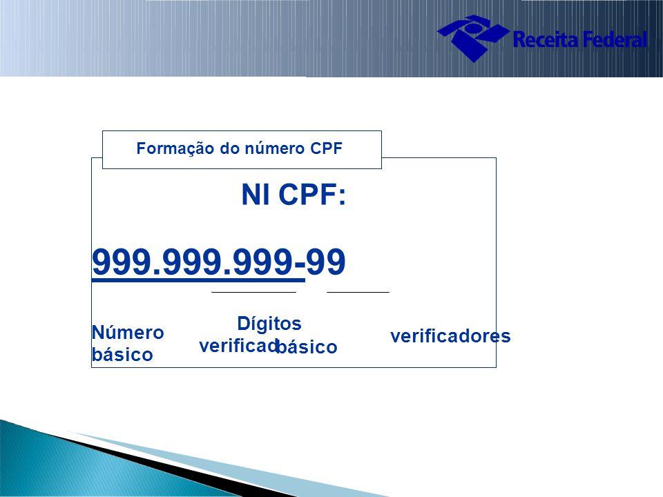 verificadores básico Formação do número CPF NI CPF: 999.999.999-99 Número Dígitos básico verificad