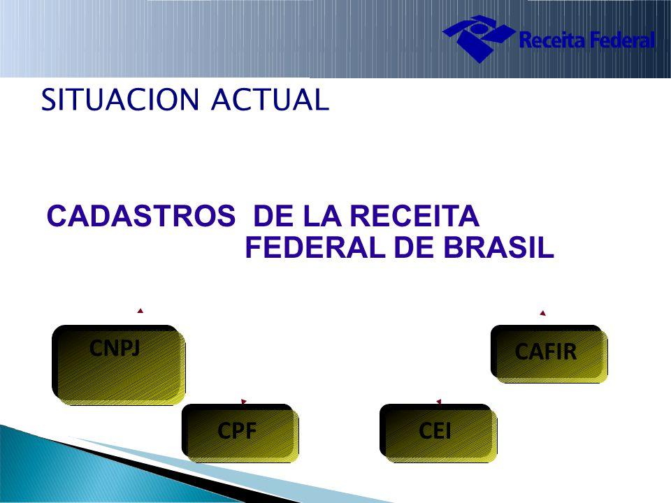 SITUACION ACTUAL CADASTROS DE LA RECEITA FEDERAL DE BRASIL CNPJ CAFIRCAFIR CPFCEI