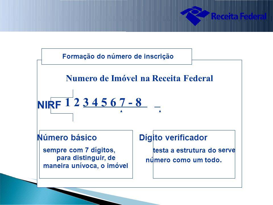 maneira unívoca, o imóvel Formação do número de inscrição Numero de Imóvel na Receita Federal NIRF 1 2 3 4 5 6 7 - 8 Número básico Dígito verificador sempre com 7 dígitos, testa a estrutura do serve para distinguir, de número como um todo.