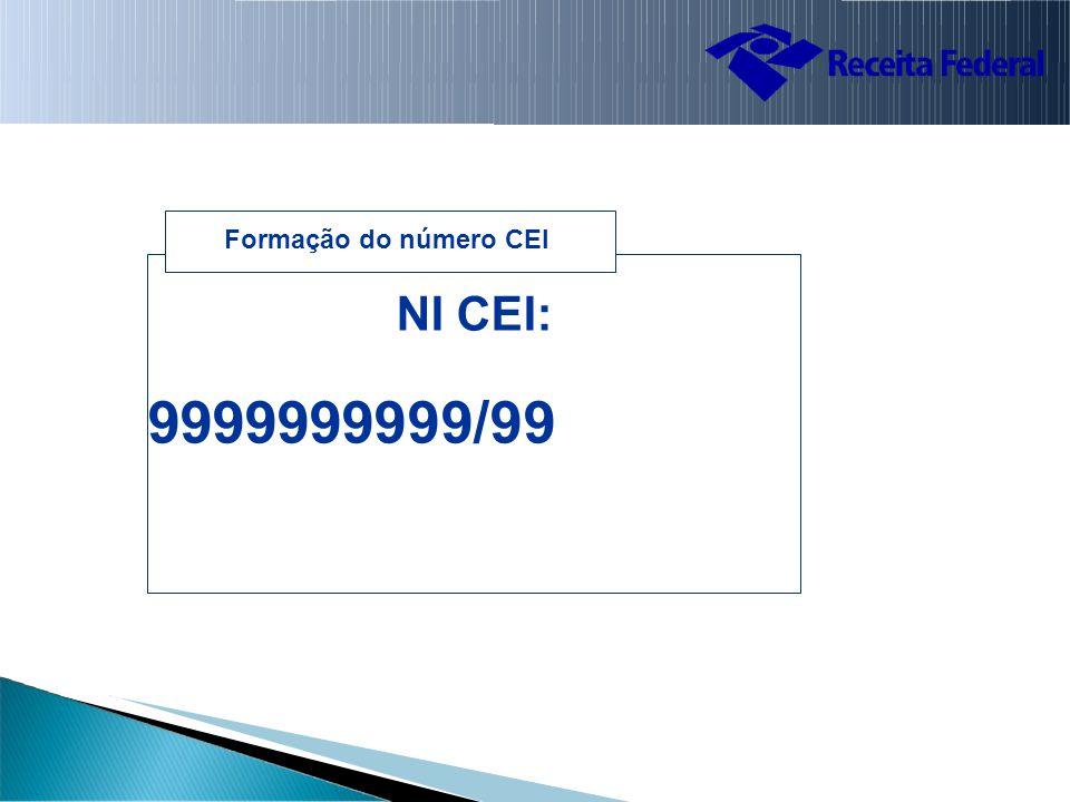 Formação do número CEI NI CEI: 9999999999/99