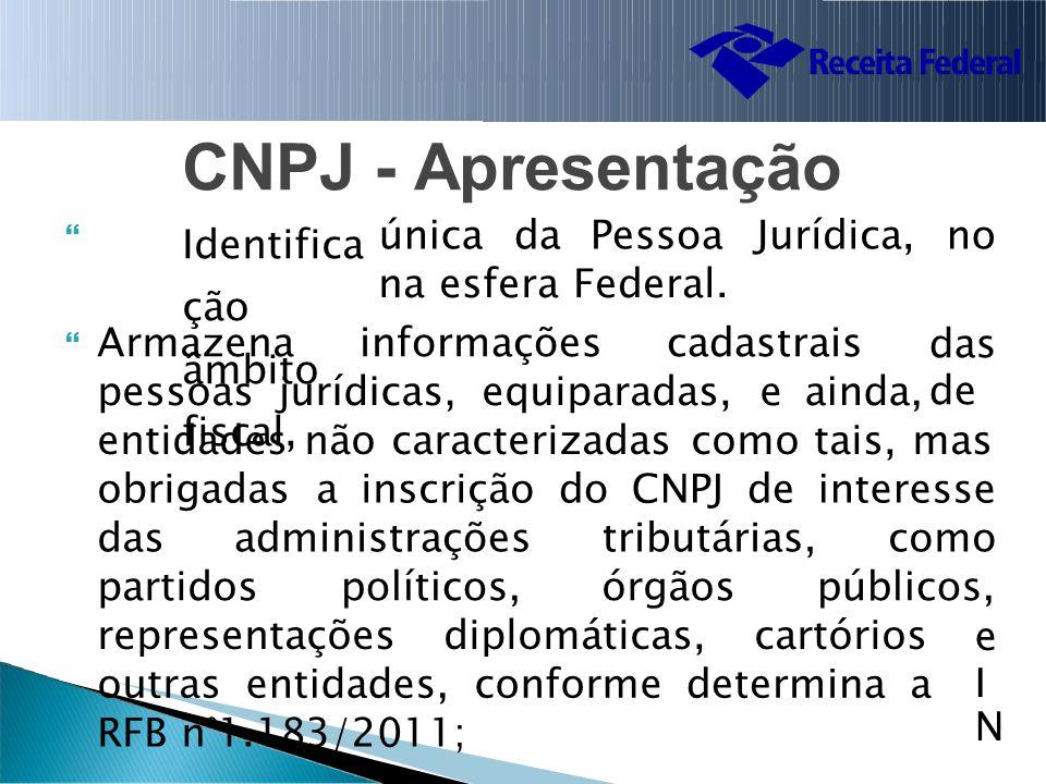CNPJ Identifica ção âmbito fiscal, -Apresentação  únicada PessoaJurídica,nono na esfera Federal.