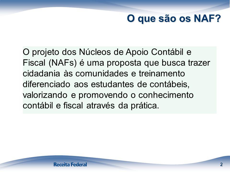 O que são os NAF? 2 O projeto dos Núcleos de Apoio Contábil e Fiscal (NAFs) é uma proposta que busca trazer cidadania às comunidades e treinamento dif