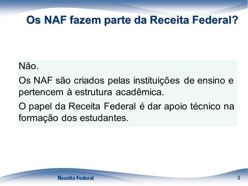 Os NAF fazem parte da Receita Federal? 3 Não. Os NAF são criados pelas instituições de ensino e pertencem à estrutura acadêmica. O papel da Receita Fe