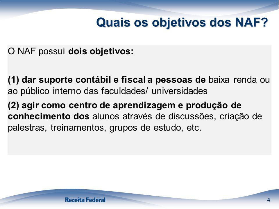 Quais os objetivos dos NAF? 4 O NAF possui dois objetivos: (1) dar suporte contábil e fiscal a pessoas de baixa renda ou ao público interno das faculd