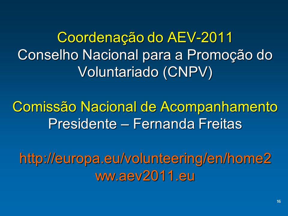 16 Coordenação do AEV-2011 Conselho Nacional para a Promoção do Voluntariado (CNPV) Comissão Nacional de Acompanhamento Presidente – Fernanda Freitas