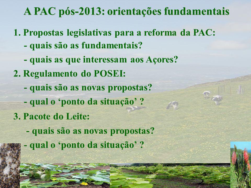1. Propostas legislativas para a reforma da PAC: - quais são as fundamentais? - quais as que interessam aos Açores? 2. Regulamento do POSEI: - quais s