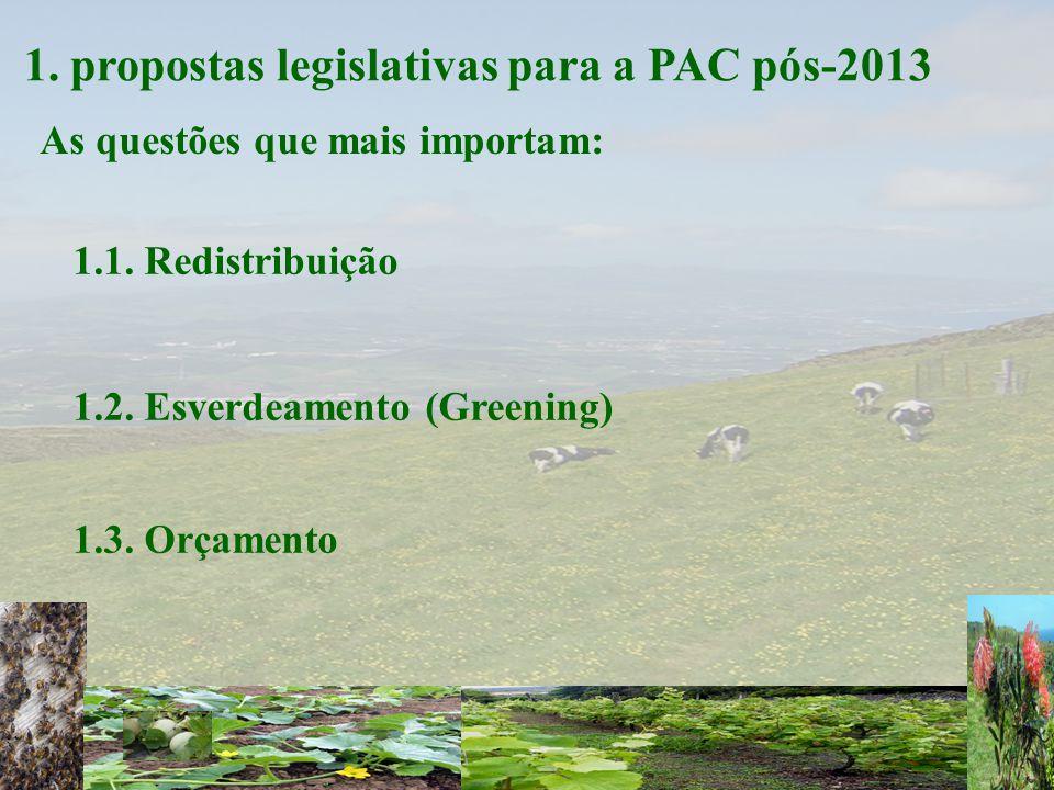 1. propostas legislativas para a PAC pós-2013 As questões que mais importam: 1.1.